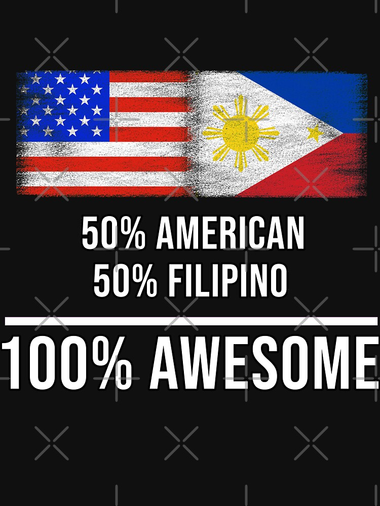 50% American 50% Filipino 100% Awesome - Philippines Flag Gift For Filipino von Popini