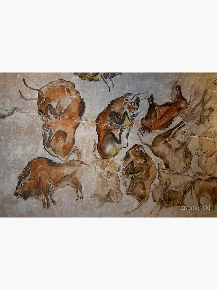 Paleolithic cave painting of bisons (replica) from the Altamira cave, Cantabria, Spain, painted c. 20,000 years ago by znamenski