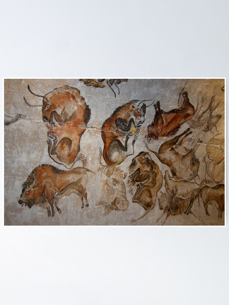 Alternate view of Paleolithic cave painting of bisons (replica) from the Altamira cave, Cantabria, Spain, painted c. 20,000 years ago Poster