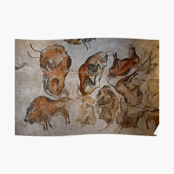 Paleolithic cave painting of bisons (replica) from the Altamira cave, Cantabria, Spain, painted c. 20,000 years ago Poster