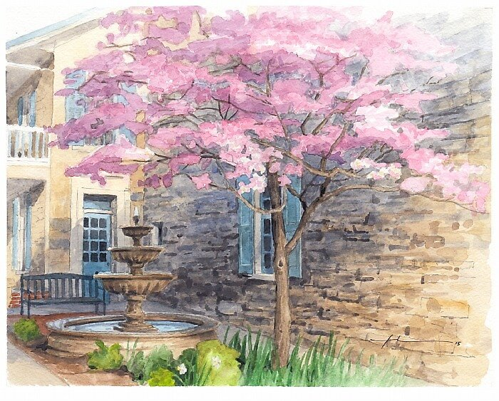 Bellefonte Art Museum courtyard watercolor by Mike Theuer