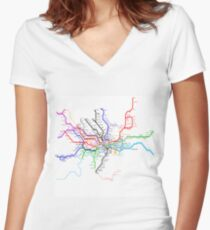London Metro Women's Fitted V-Neck T-Shirt