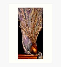 Pussy Willows In A Wooden Vase Art Print