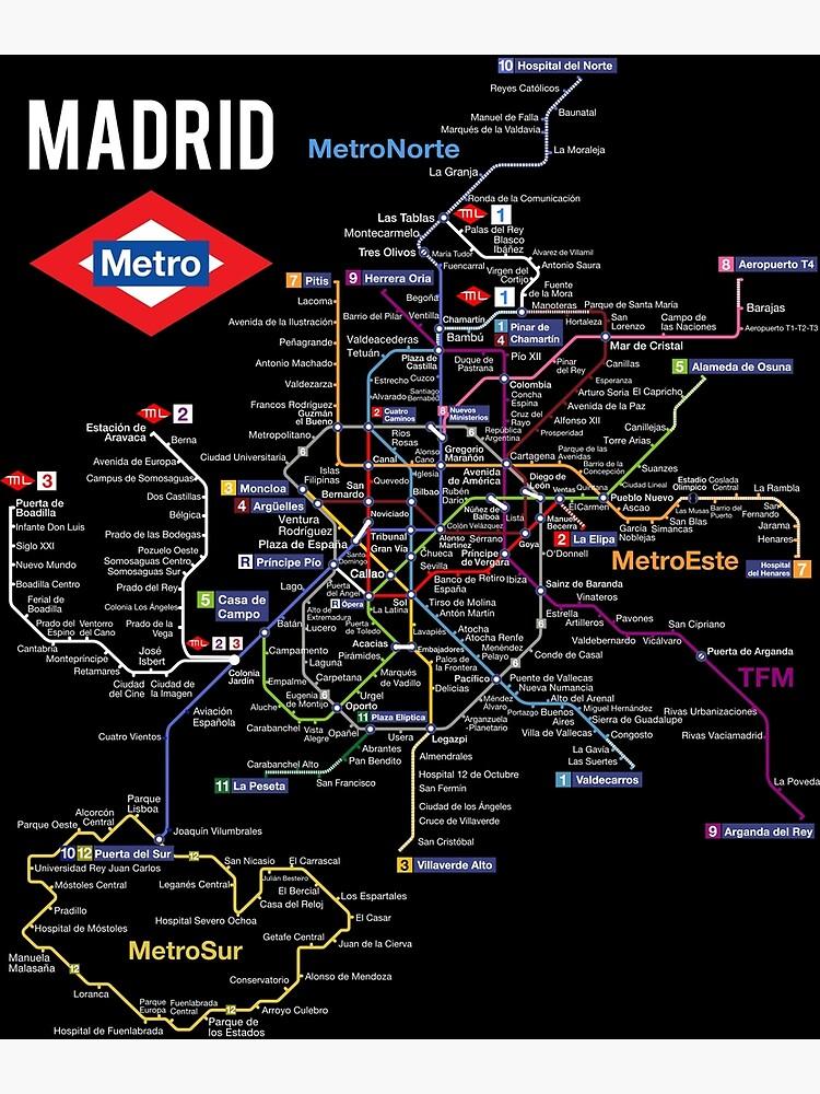 Madrid Spain Metro Subway Train Map Spanish Language by Maljonic