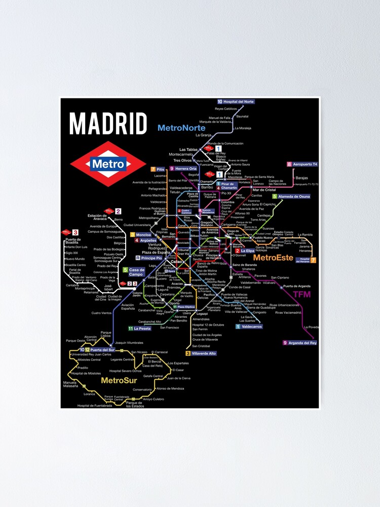 Alternate view of Madrid Spain Metro Subway Train Map Spanish Language Poster