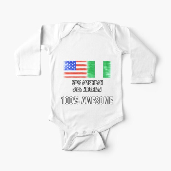 Ripped Nigerian Flag Novelty Toddler Children Baby Boys Girls Long Sleeve Shirt Clothes