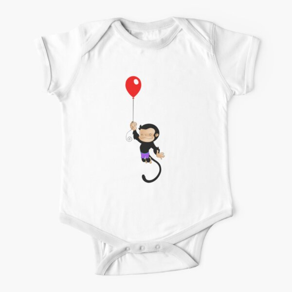 Monkey with a Red Balloon Short Sleeve Baby One-Piece