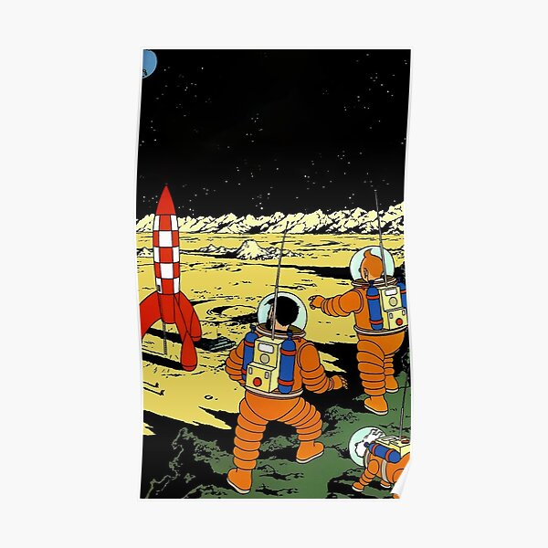 Tintin rocket moon tshirt Poster
