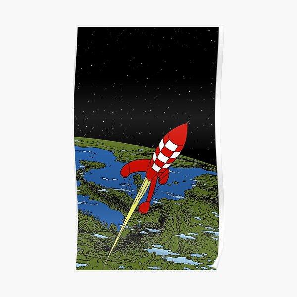 Tintin rocket Phone case Poster