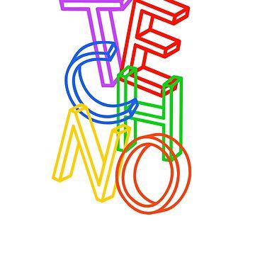TECHNO 3D Letter   Rave Party Music DJ Gift by DrokkWarez