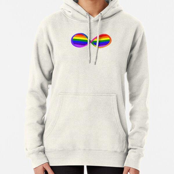 Retro 1980s LGBTQ Pride Flag Neurodiversity Symbol Pullover Hoodie