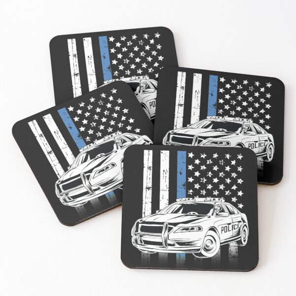 Thin Blue Line Police Car Coasters (Set of 4)