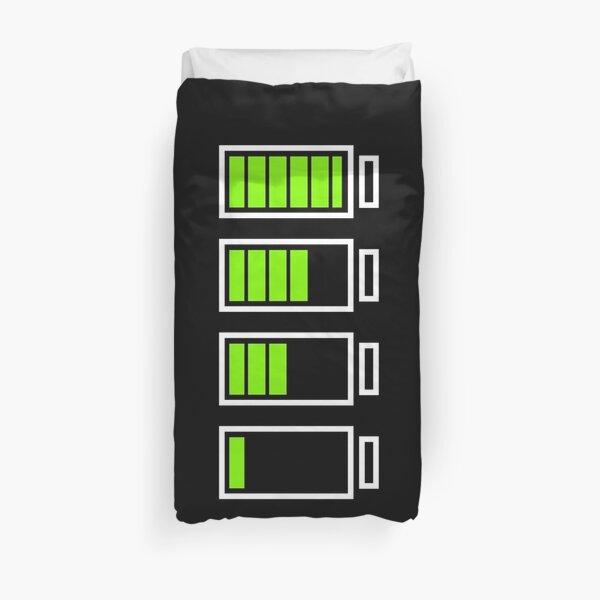 Low Battery Recharging - Retro Neon Green on Black Duvet Cover