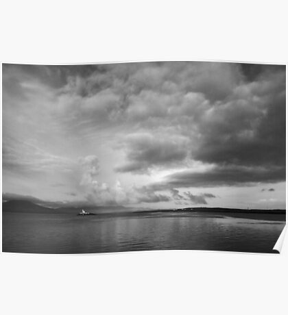 Moody ominous sky with lighthouse Poster