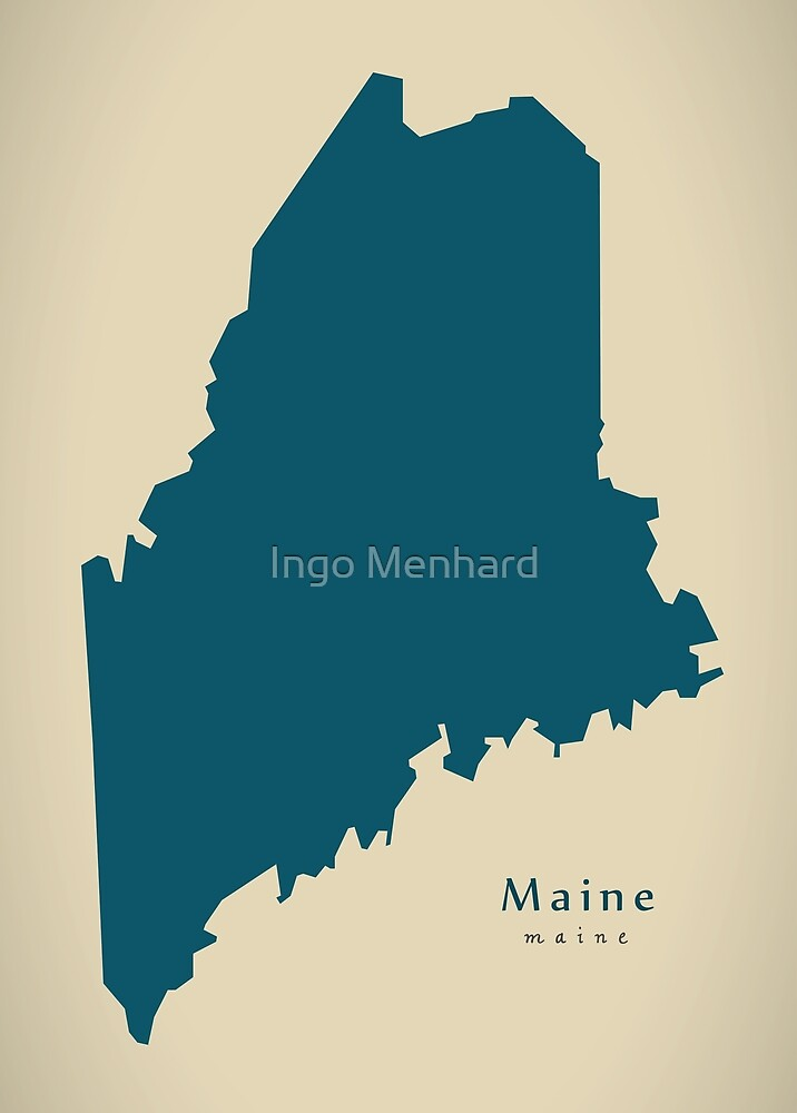 Modern Map - Maine state USA