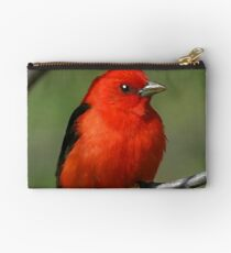 Scarlet Tanager Digital Oil Painting Zipper Pouch