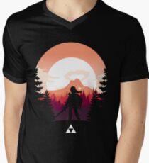 Camiseta para hombre de cuello en v La leyenda de Zelda (naranja)