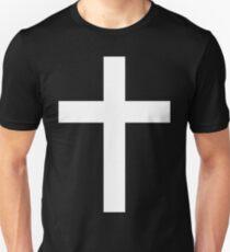 Christian Cross White on Black Unisex T-Shirt