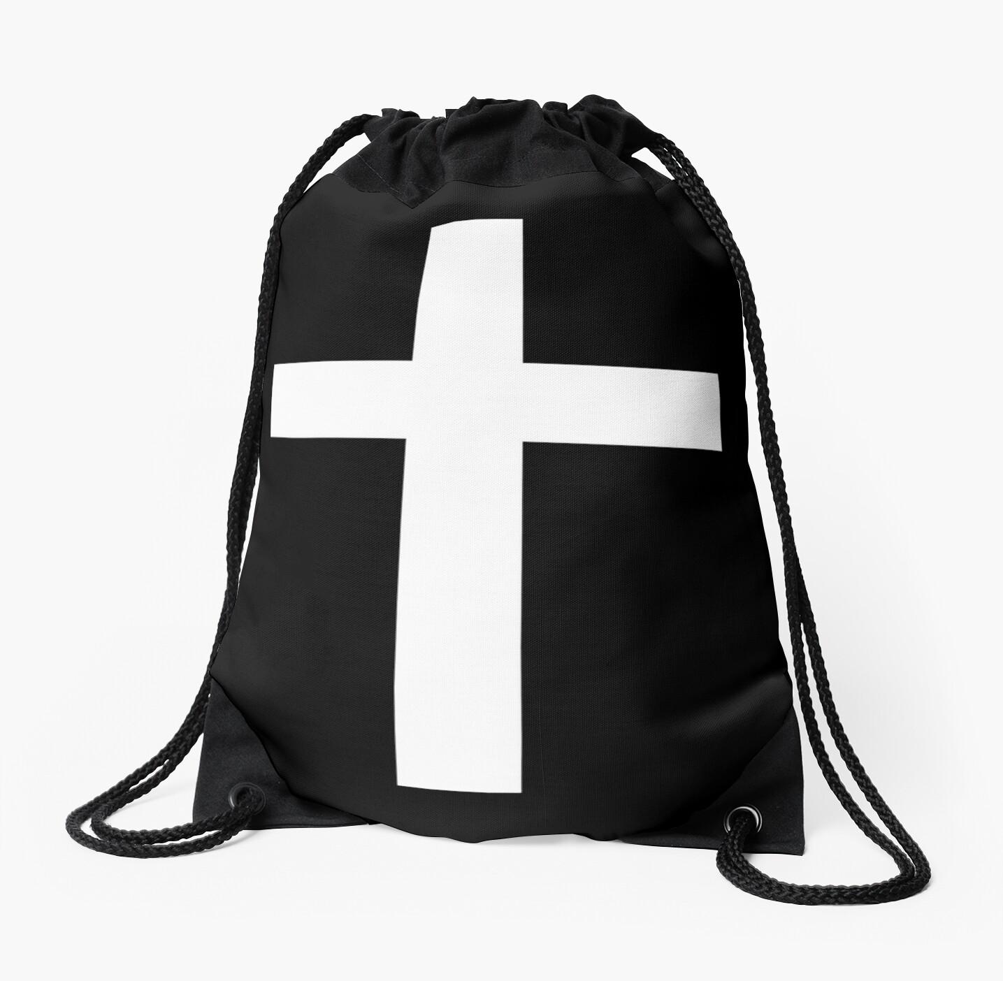 Christian Cross White on Black by cdsymbols