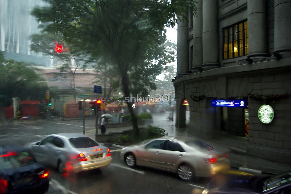 Streets of Singapore city under the rain by shkyo30