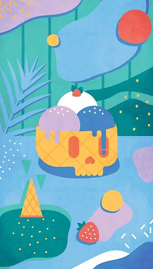 Skull Ice Cream Cone by no-eye-deer