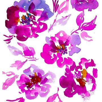 Purple Watercolor flower bouquet by ilzesgimene