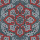 Flowers and Laurels, arabesque pattern in grey and red by clipsocallipso