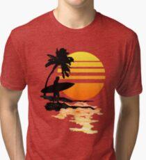 Camiseta de tejido mixto Surfing Sunrise