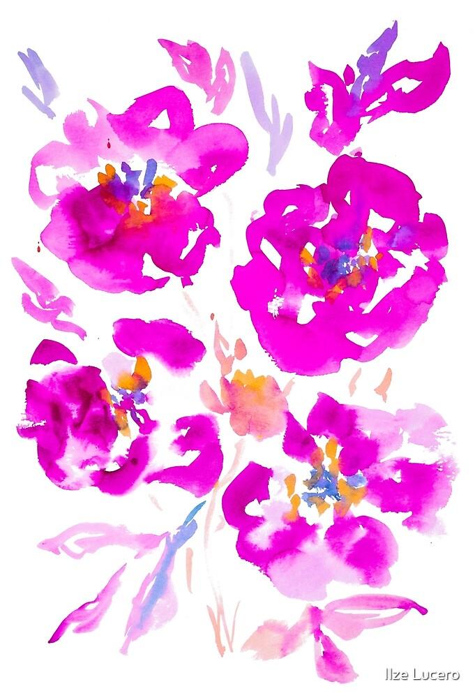 «Flores de acuarela de color rosa brillante y púrpura» de Ilze Lucero