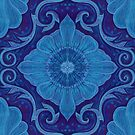 Sapphire flowers floral arabesque pattern by clipsocallipso