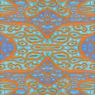 Orange and blue abstract pattern in eastern style by clipsocallipso