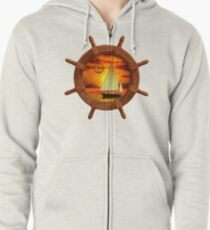 Sailboat And Compass Rose Zipped Hoodie