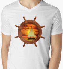 Sailboat And Compass Rose Mens V-Neck T-Shirt