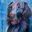 Flatcoated retreiver - watercolors by doggyshop