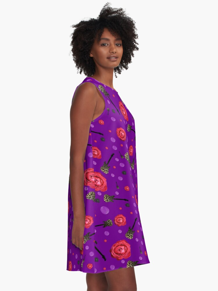 Alternate view of Purple roses and guitars pattern A-Line Dress