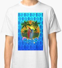 Blue Tiki Tropical Sunset Classic T-Shirt
