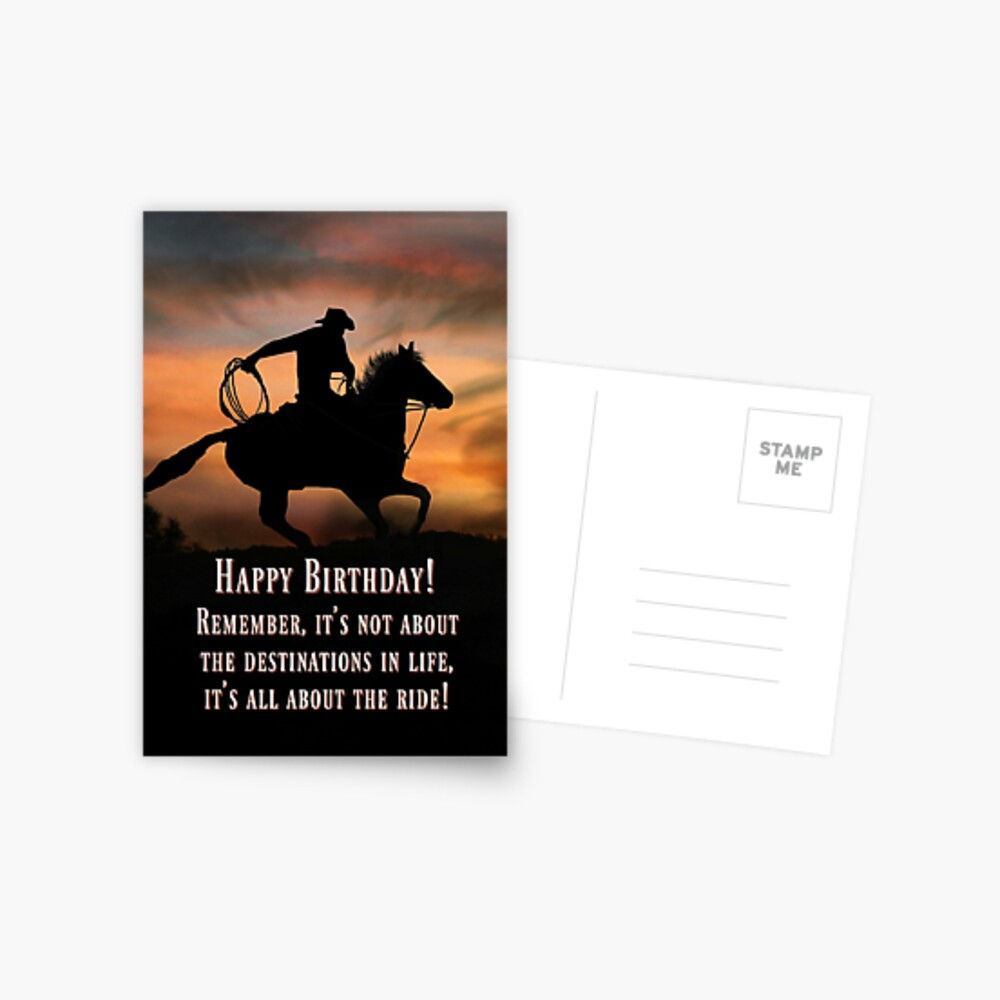 Carte De Vœux Carte De Joyeux Anniversaire Western De Cowboy And Horse Country Adventure Life Is A Ride Cartes D Anniversaire Super Cool Par Lazyl Redbubble