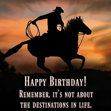 Cowboy and Horse Country Western Happy Birthday Card, Adventure Life is A Ride, Super Cool Birthday Cards by LazyL