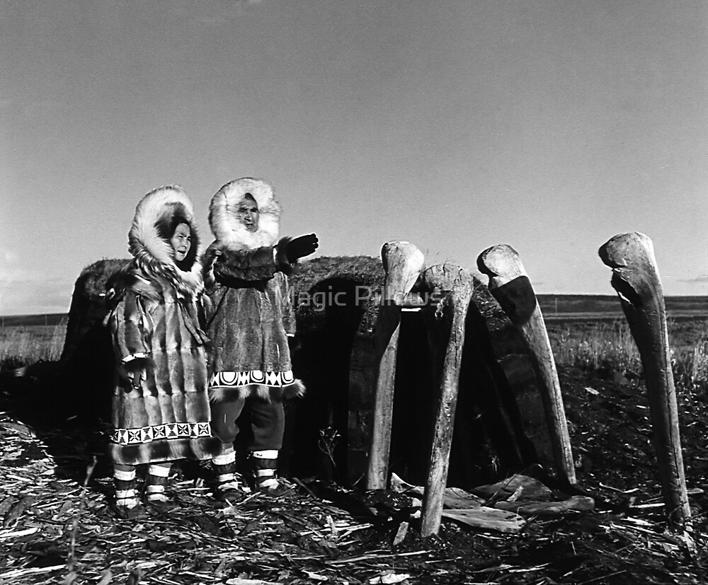 Fur clad eskimos of arctic alaska bu sod igloo 1970s by blackwhitephoto