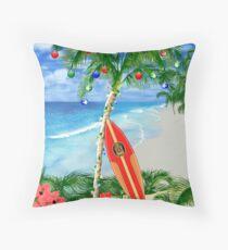 Beach Christmas Throw Pillow