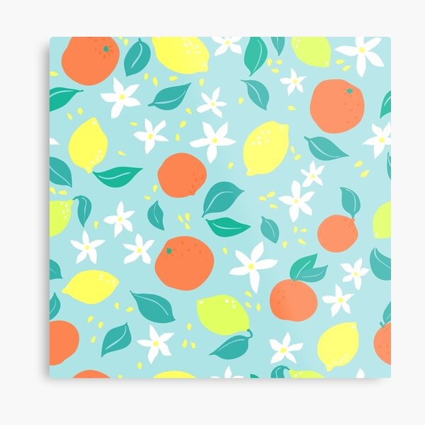 Citrus fruits and flowers Metal Print
