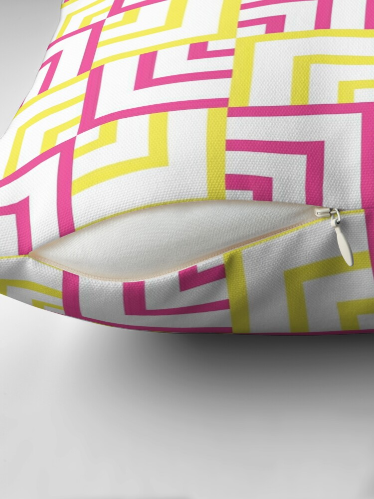 Alternate view of Pink and Yellow Squares Throw Pillow