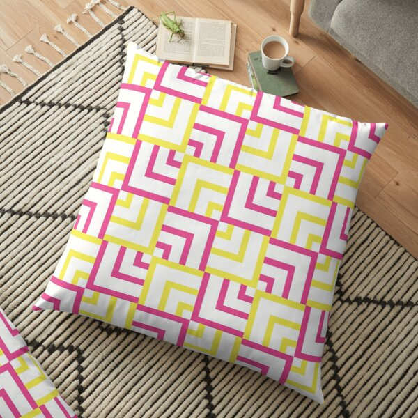 Pink and Yellow Squares Floor Pillow