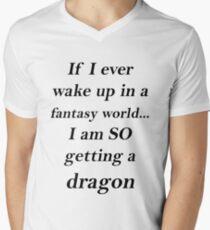 Fantasy Dragon Black Mens V-Neck T-Shirt