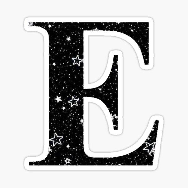 Letter E White Stars Black Sky Sticker