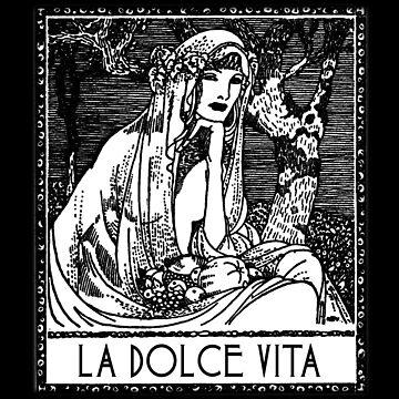 La Dolce Vita Antique Woodcut by Greenbaby