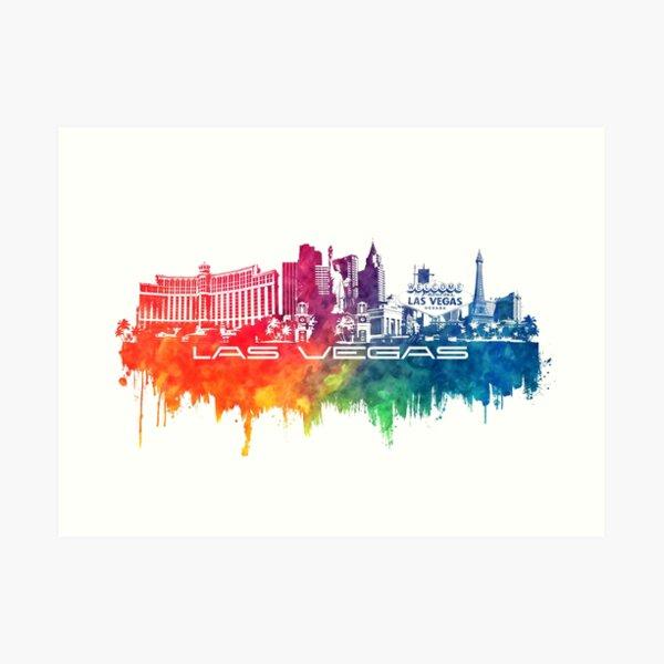 Las Vegas skyline city color Art Print