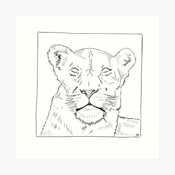 2019 01 10 line art portrait lioness  Art Print