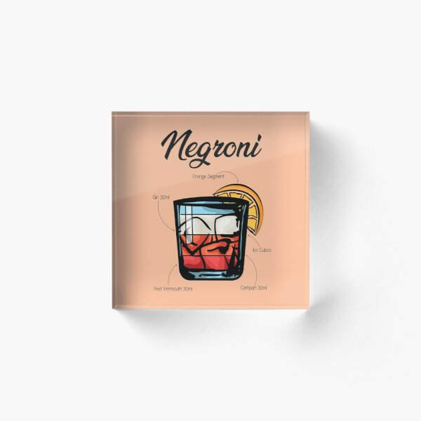 Negroni Cocktail Recipe Acrylic Block