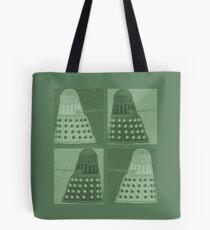 Daleks in negatives - green Tote Bag